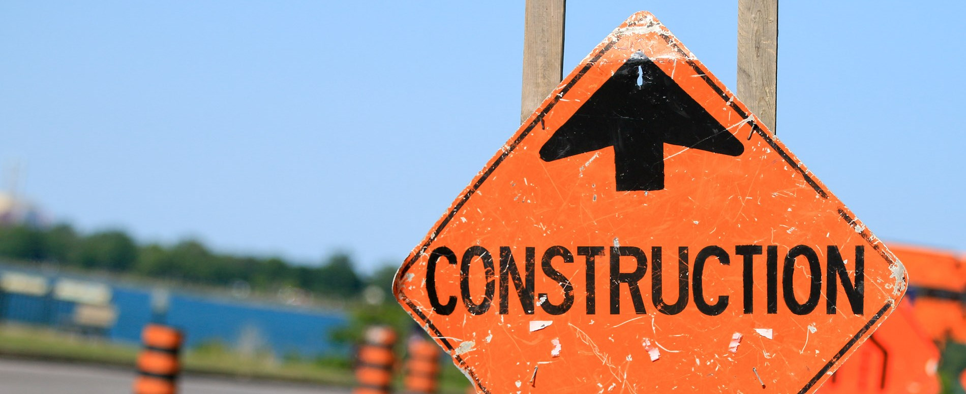 construction sign on road